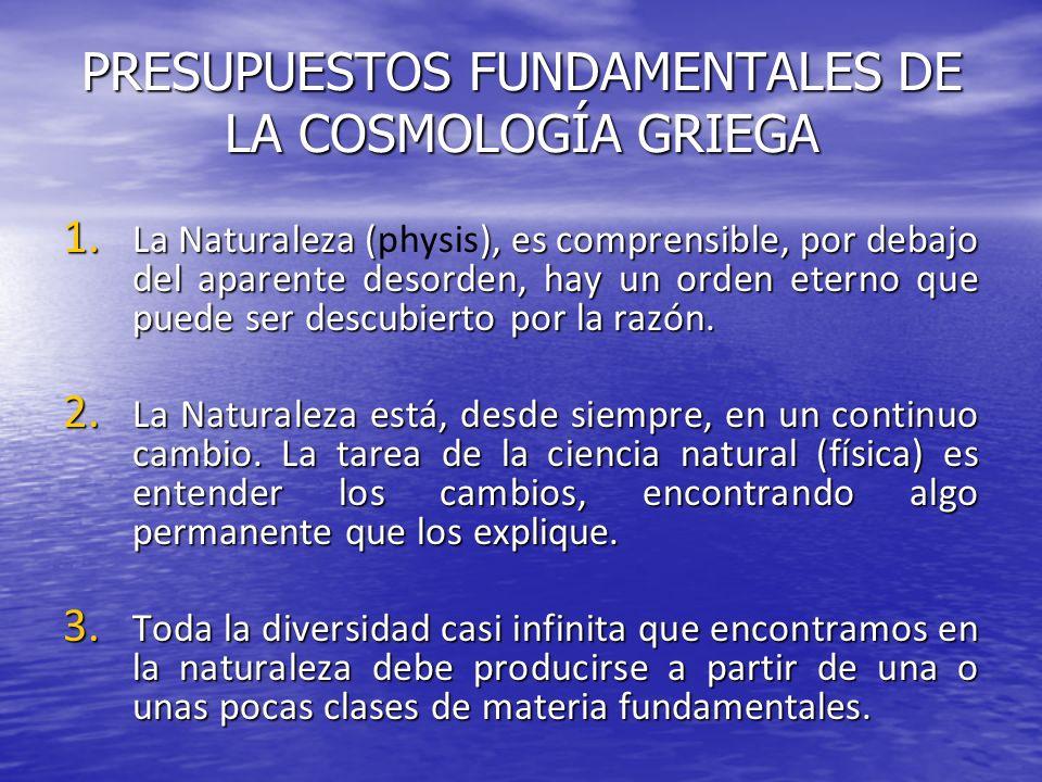 PRESUPUESTOS FUNDAMENTALES DE LA COSMOLOGÍA GRIEGA