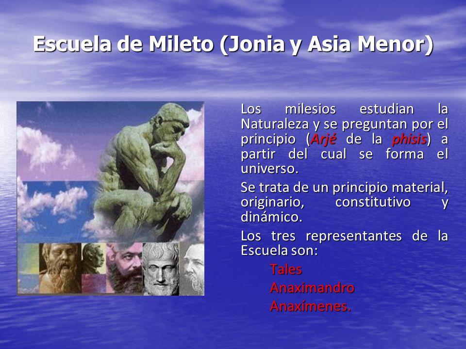 Escuela de Mileto (Jonia y Asia Menor)