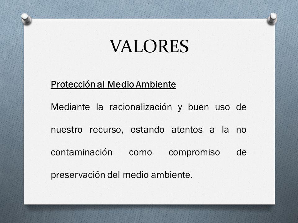 VALORES Protección al Medio Ambiente