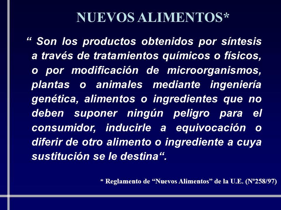* Reglamento de Nuevos Alimentos de la U.E. (Nº258/97)