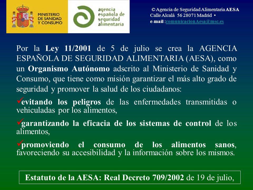 Estatuto de la AESA: Real Decreto 709/2002 de 19 de julio,
