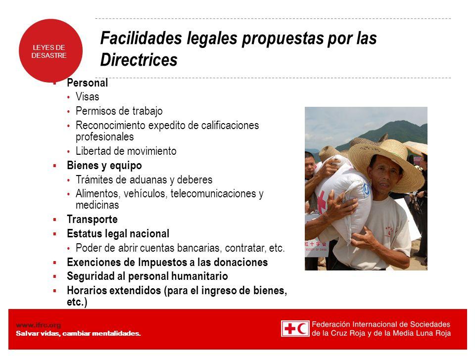 Facilidades legales propuestas por las Directrices