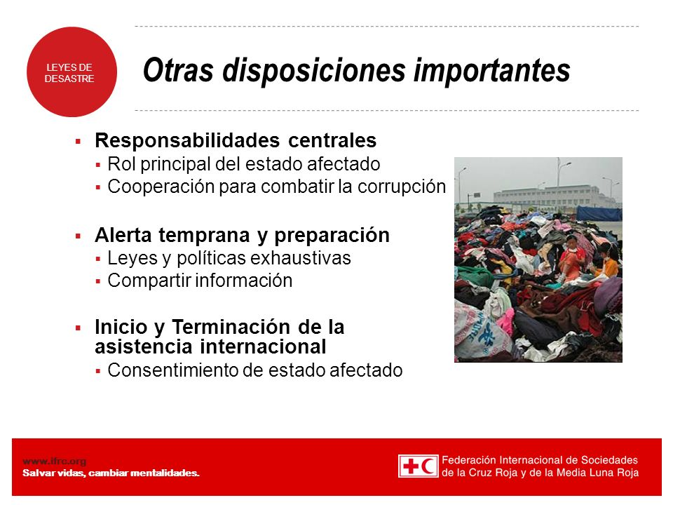 Otras disposiciones importantes