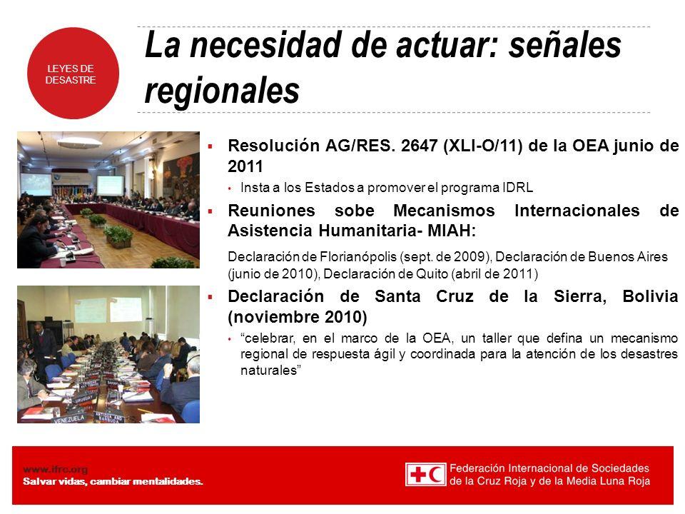 La necesidad de actuar: señales regionales
