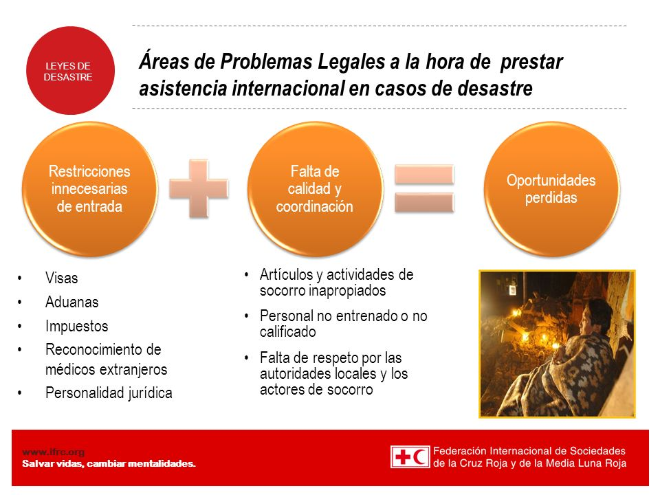 Áreas de Problemas Legales a la hora de prestar asistencia internacional en casos de desastre