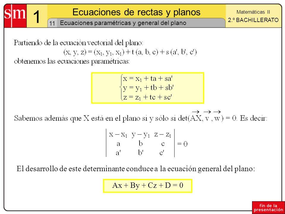 Ecuaciones paramétricas y general del plano