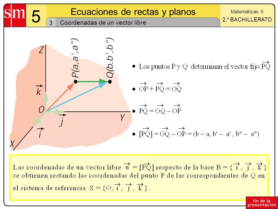 Coordenadas de un vector libre