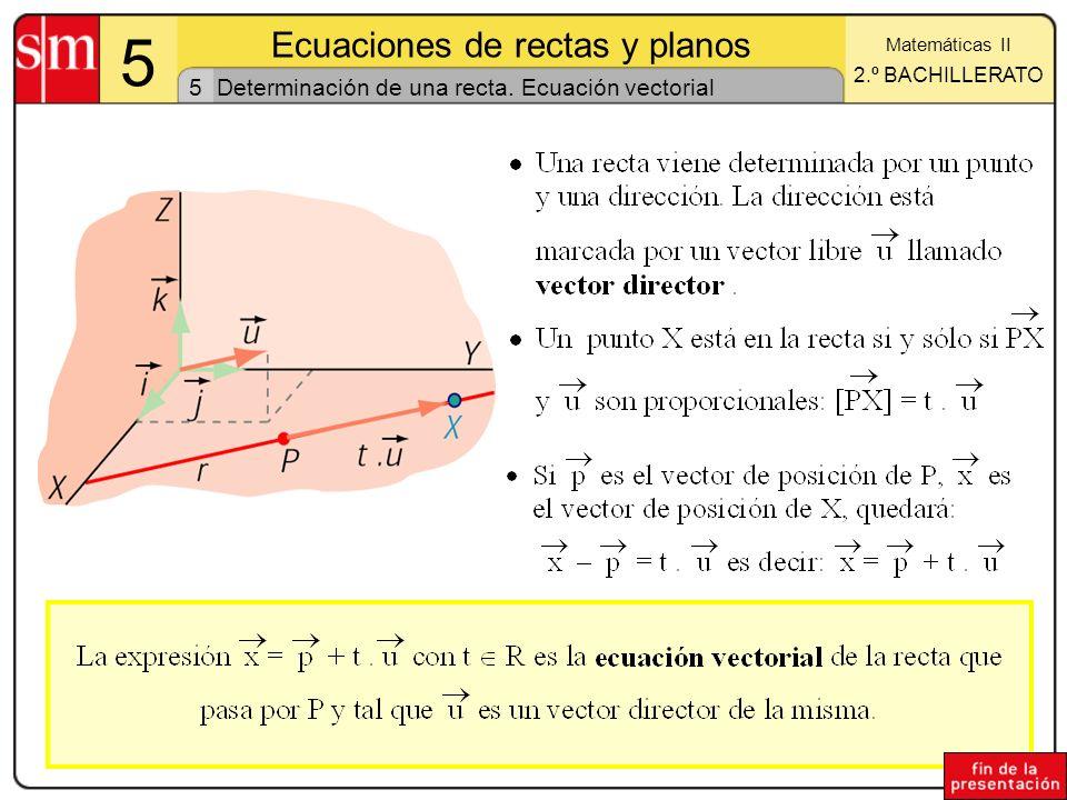 Determinación de una recta. Ecuación vectorial