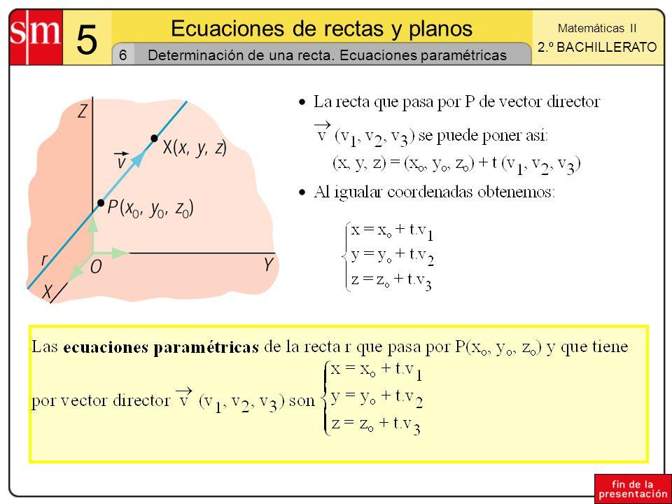 Determinación de una recta. Ecuaciones paramétricas