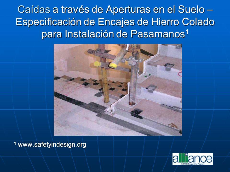 Caídas a través de Aperturas en el Suelo – Especificación de Encajes de Hierro Colado para Instalación de Pasamanos1