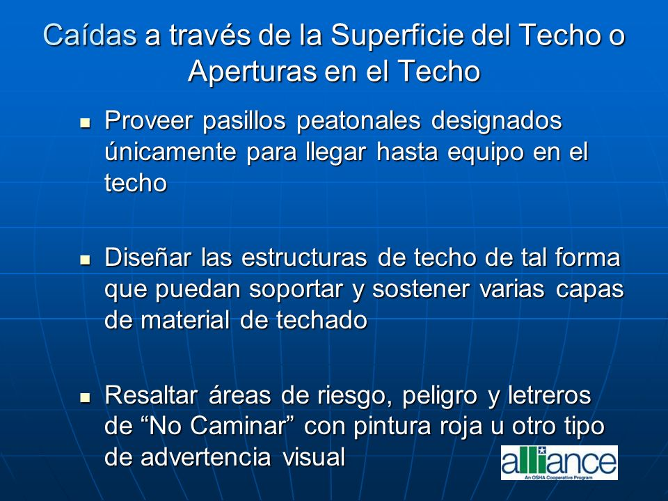 Caídas a través de la Superficie del Techo o Aperturas en el Techo
