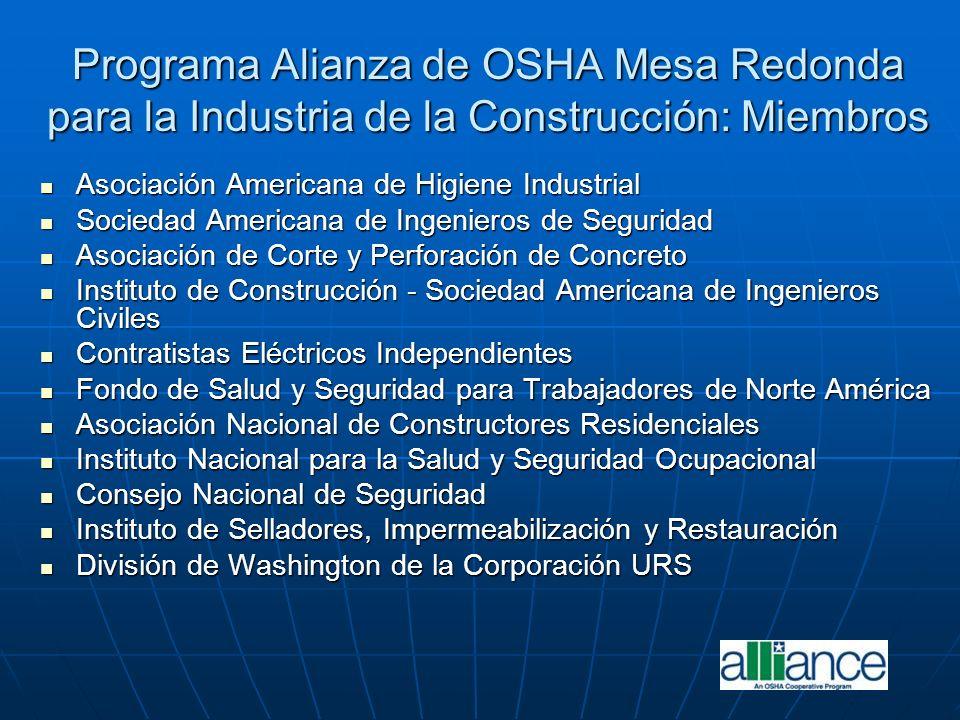 Programa Alianza de OSHA Mesa Redonda para la Industria de la Construcción: Miembros
