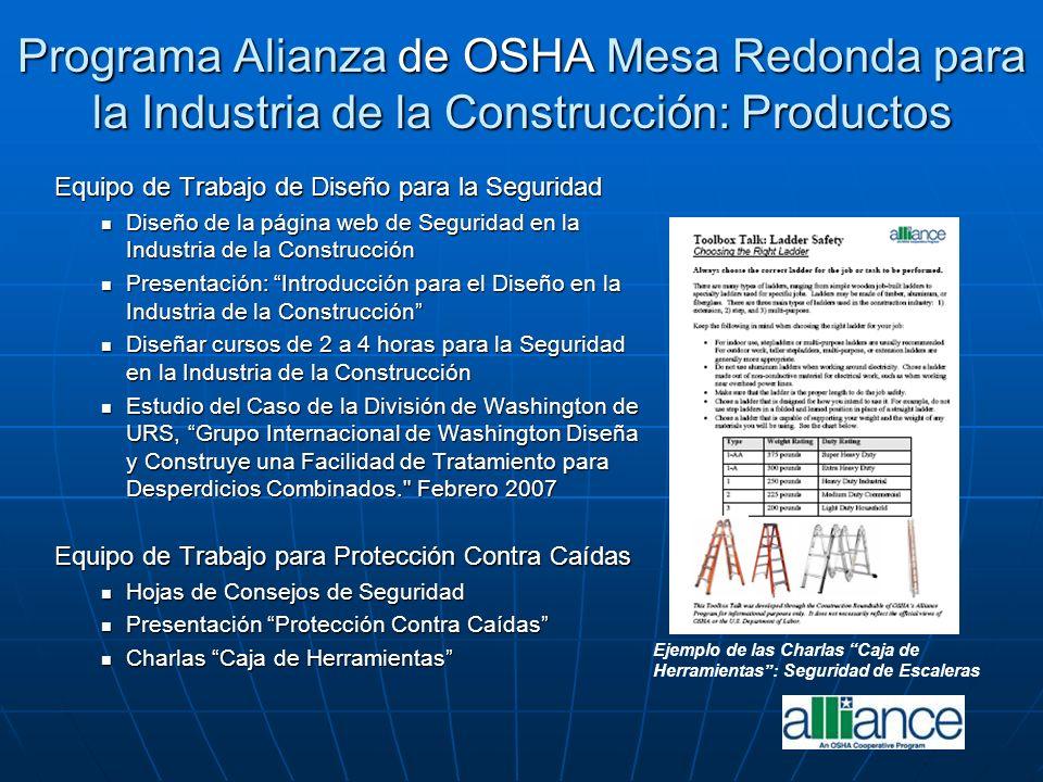 Programa Alianza de OSHA Mesa Redonda para la Industria de la Construcción: Productos