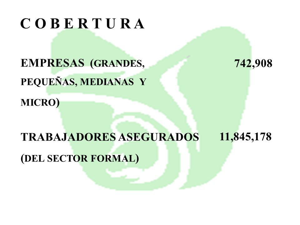 C O B E R T U R A EMPRESAS (GRANDES, 742,908 TRABAJADORES ASEGURADOS