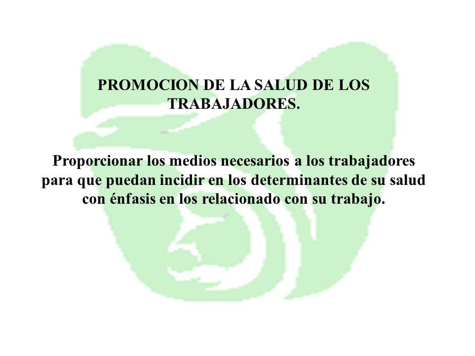PROMOCION DE LA SALUD DE LOS TRABAJADORES.