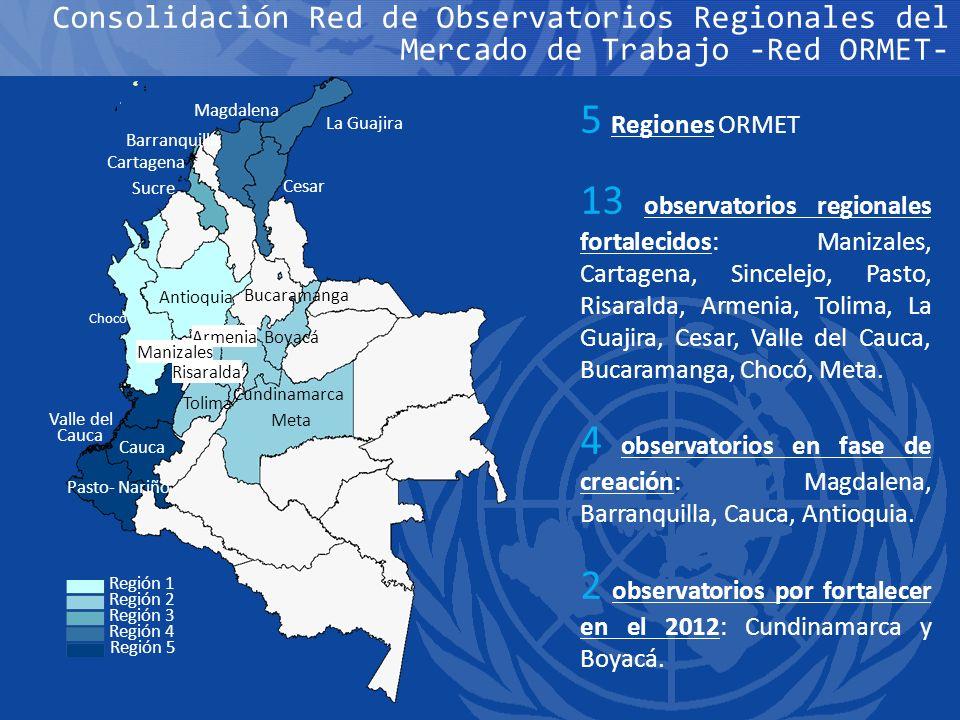 2 observatorios por fortalecer en el 2012: Cundinamarca y Boyacá.
