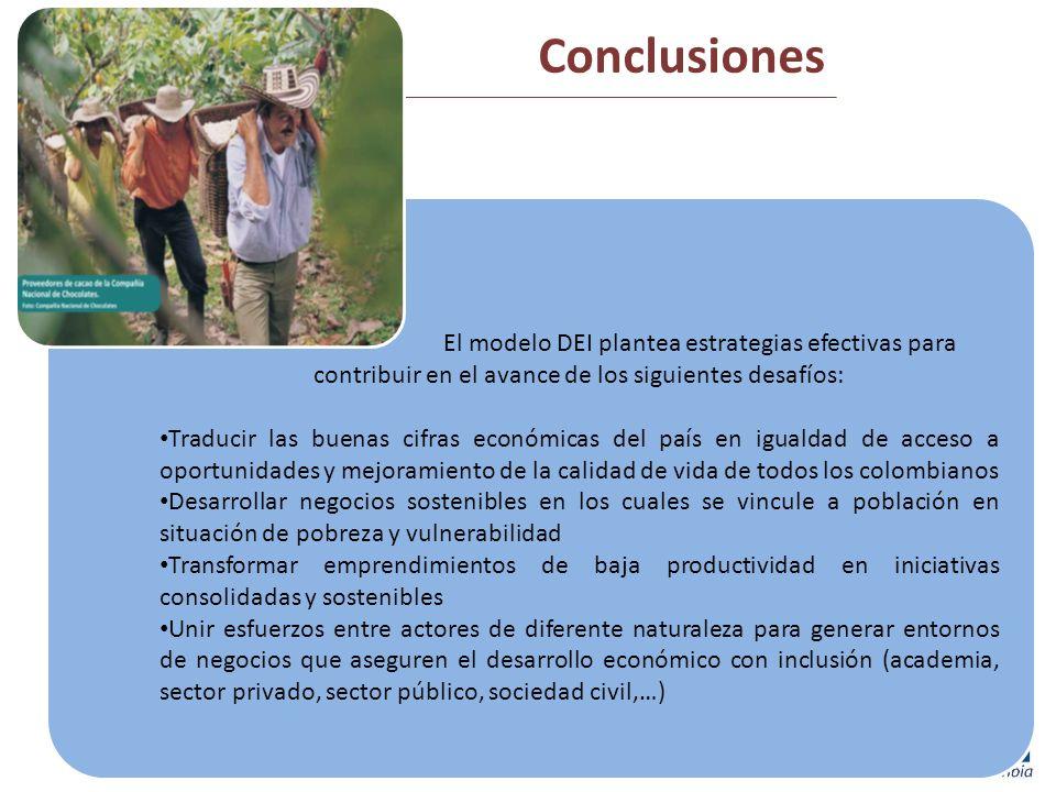 Conclusiones El modelo DEI plantea estrategias efectivas para contribuir en el avance de los siguientes desafíos: