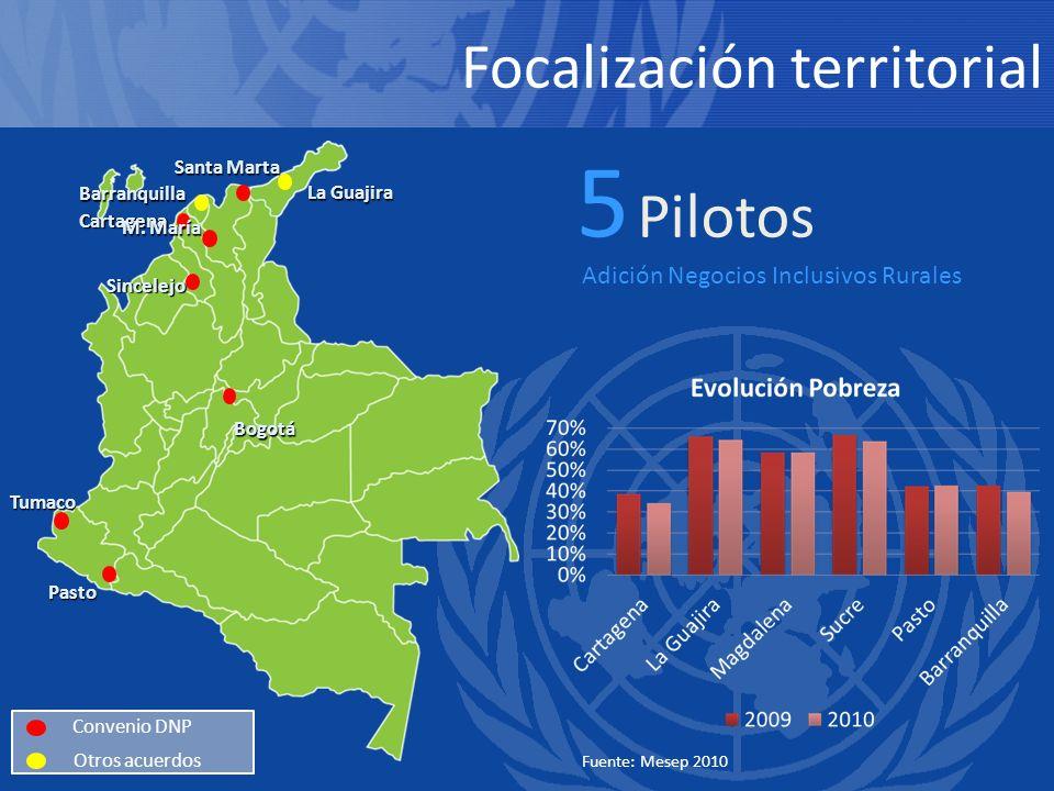 5 Pilotos Focalización territorial Adición Negocios Inclusivos Rurales