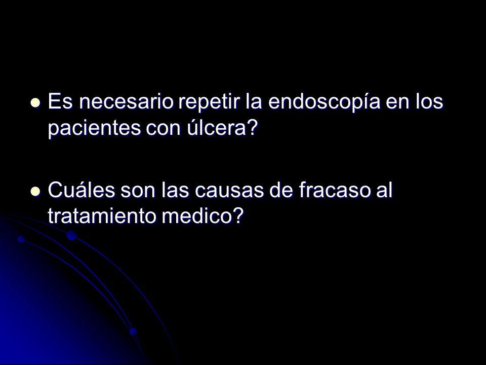 Es necesario repetir la endoscopía en los pacientes con úlcera