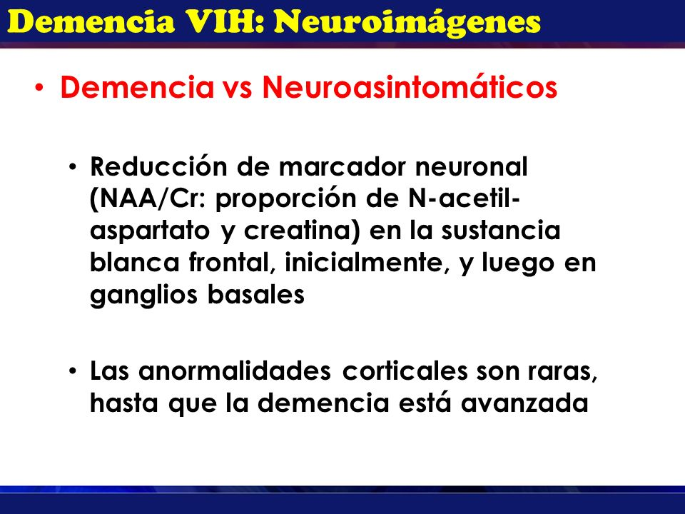 Demencia VIH: Neuroimágenes