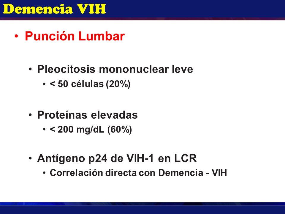 Demencia VIH Punción Lumbar Pleocitosis mononuclear leve