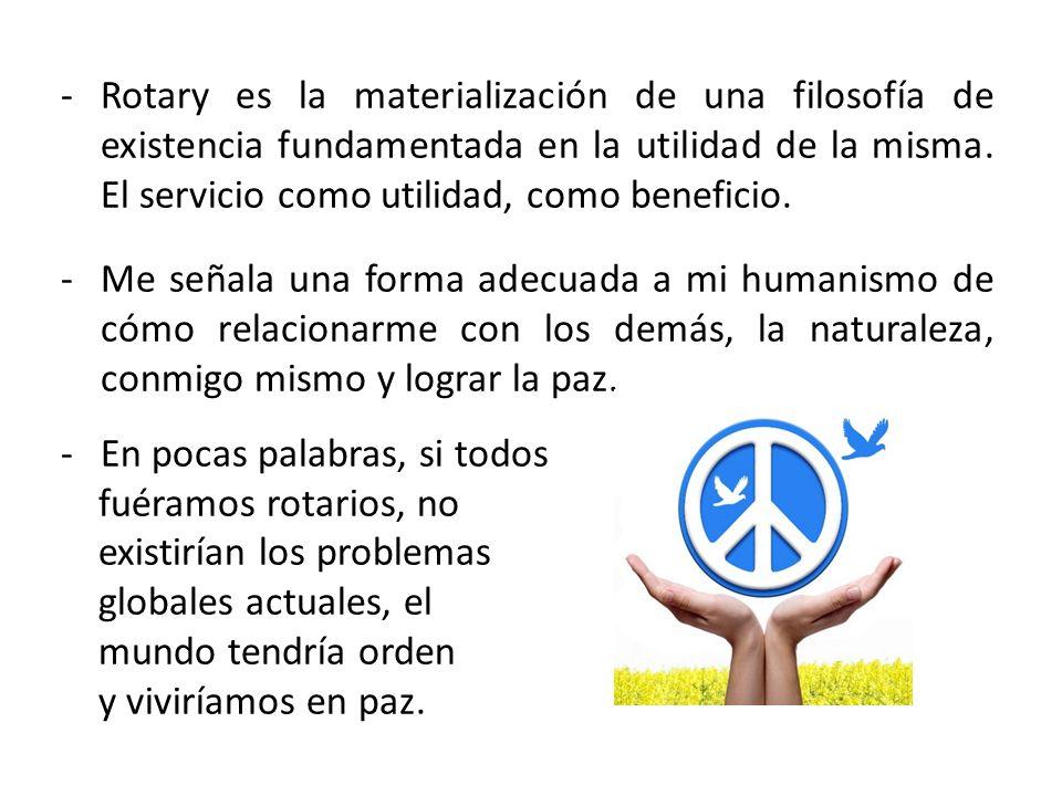 Rotary es la materialización de una filosofía de existencia fundamentada en la utilidad de la misma. El servicio como utilidad, como beneficio.