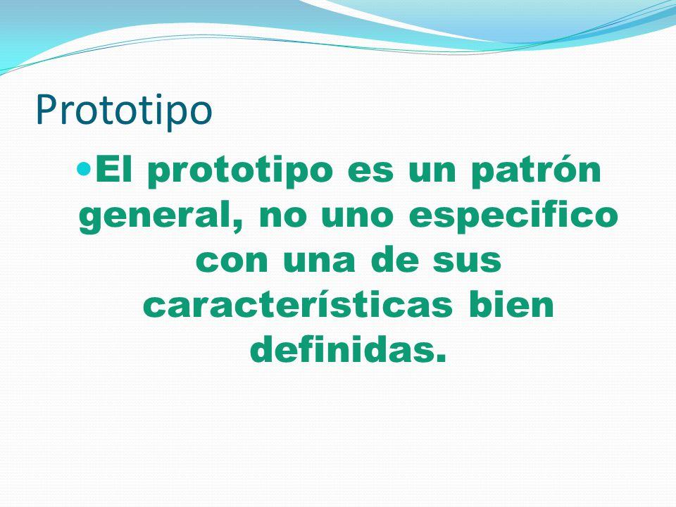Prototipo El prototipo es un patrón general, no uno especifico con una de sus características bien definidas.