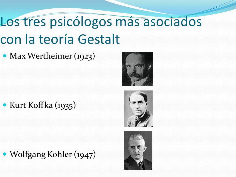 Los tres psicólogos más asociados con la teoría Gestalt