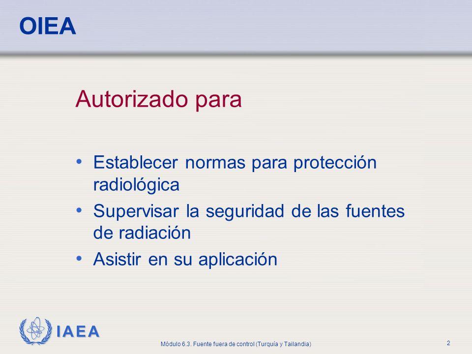 OIEA Autorizado para Establecer normas para protección radiológica
