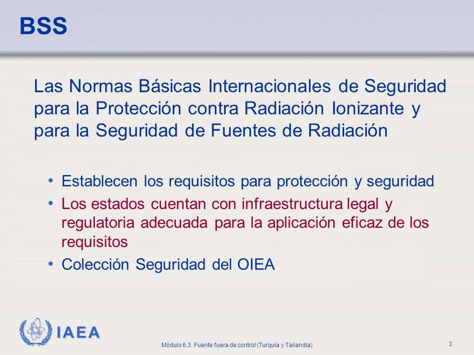 BSS Las Normas Básicas Internacionales de Seguridad para la Protección contra Radiación Ionizante y para la Seguridad de Fuentes de Radiación.