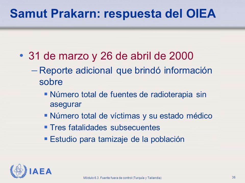 Samut Prakarn: respuesta del OIEA