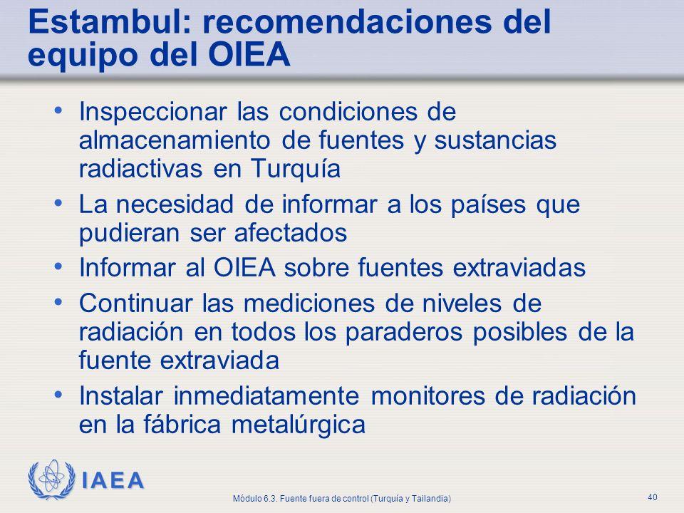 Estambul: recomendaciones del equipo del OIEA