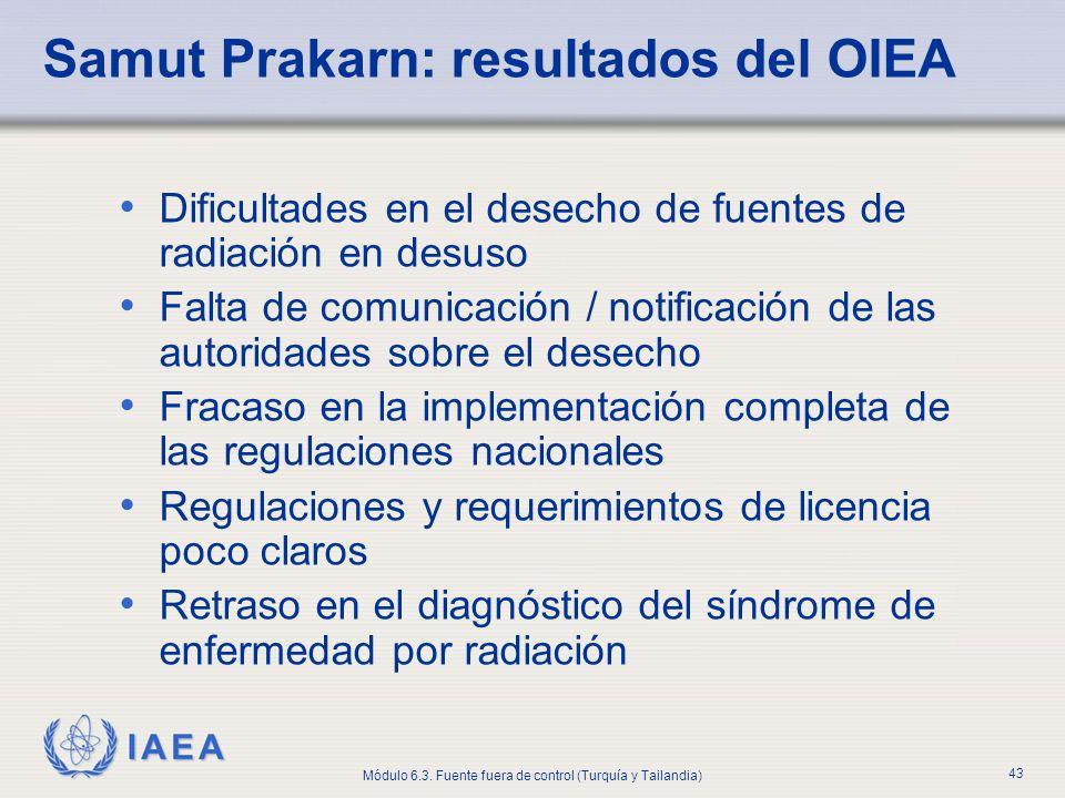Samut Prakarn: resultados del OIEA