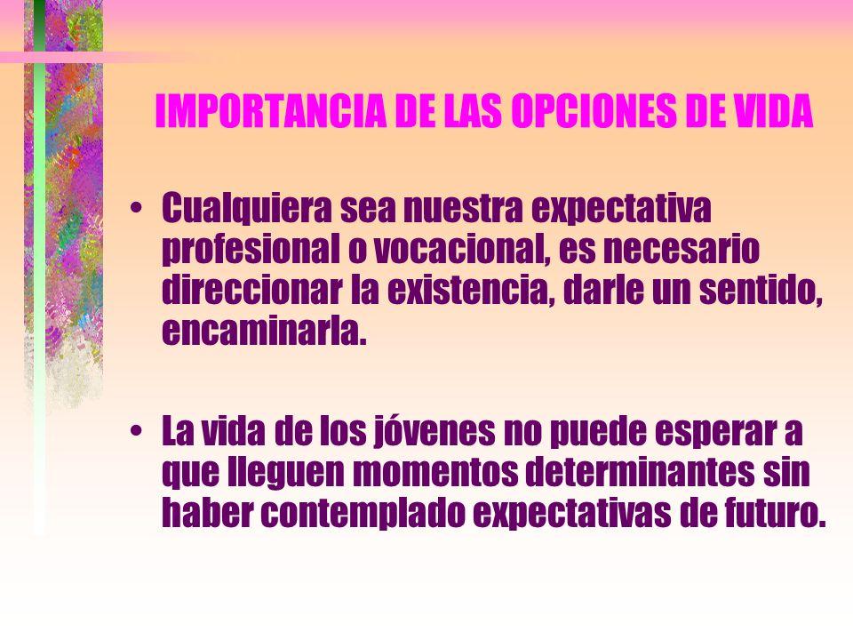 IMPORTANCIA DE LAS OPCIONES DE VIDA