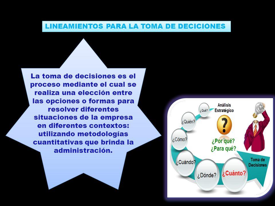 LINEAMIENTOS PARA LA TOMA DE DECICIONES