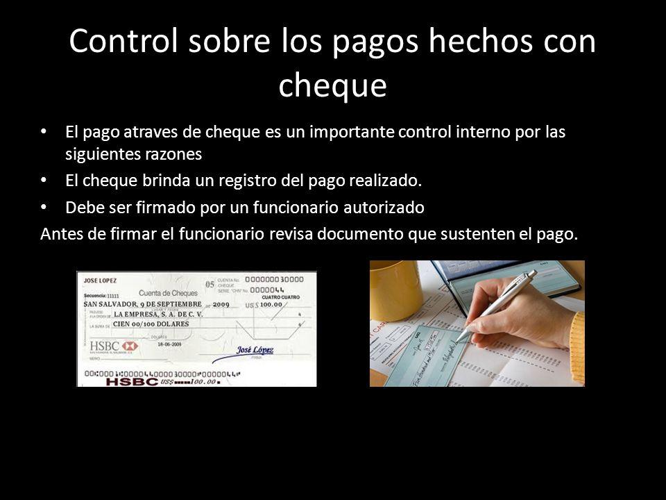 Control sobre los pagos hechos con cheque