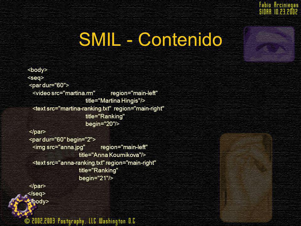SMIL - Contenido <body> <seq> <par dur= 60 >