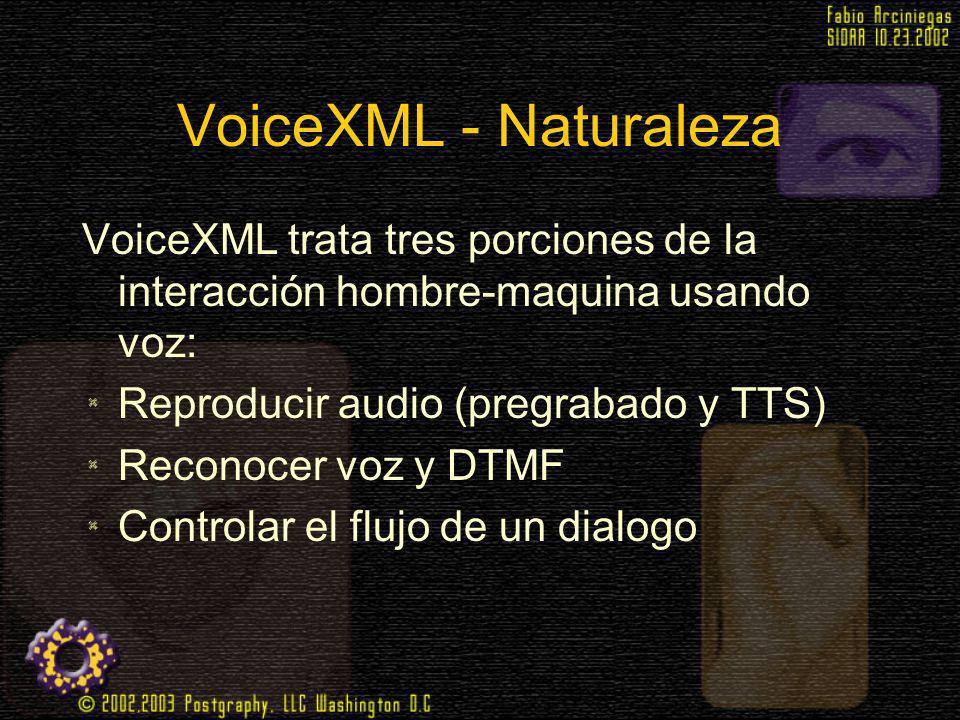 VoiceXML - Naturaleza VoiceXML trata tres porciones de la interacción hombre-maquina usando voz: Reproducir audio (pregrabado y TTS)