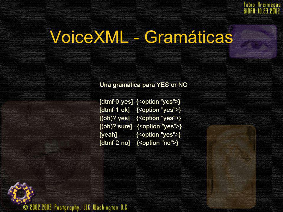 VoiceXML - Gramáticas Una gramática para YES or NO