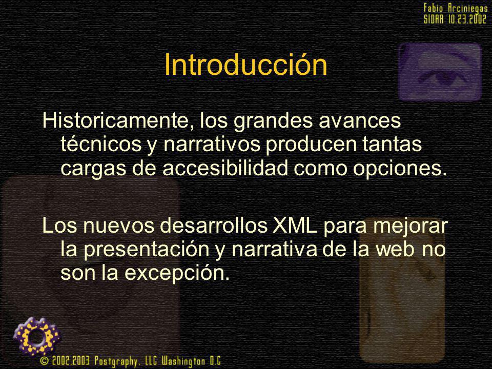 Introducción Historicamente, los grandes avances técnicos y narrativos producen tantas cargas de accesibilidad como opciones.