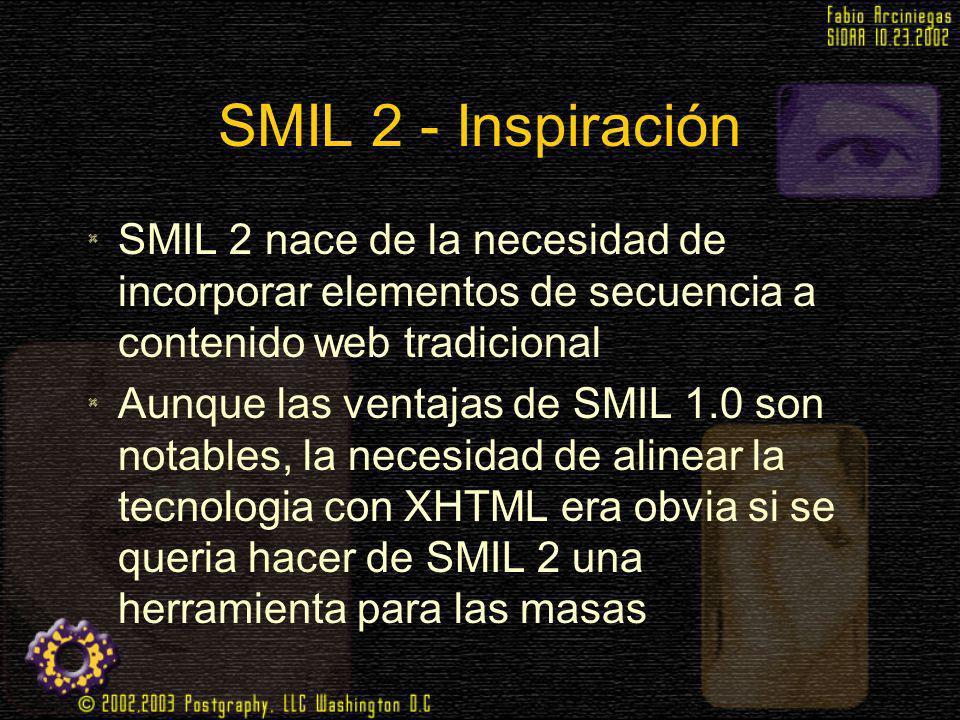 SMIL 2 - Inspiración SMIL 2 nace de la necesidad de incorporar elementos de secuencia a contenido web tradicional.