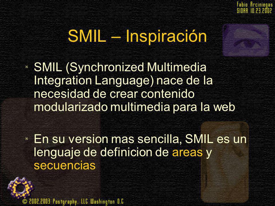 SMIL – Inspiración SMIL (Synchronized Multimedia Integration Language) nace de la necesidad de crear contenido modularizado multimedia para la web.