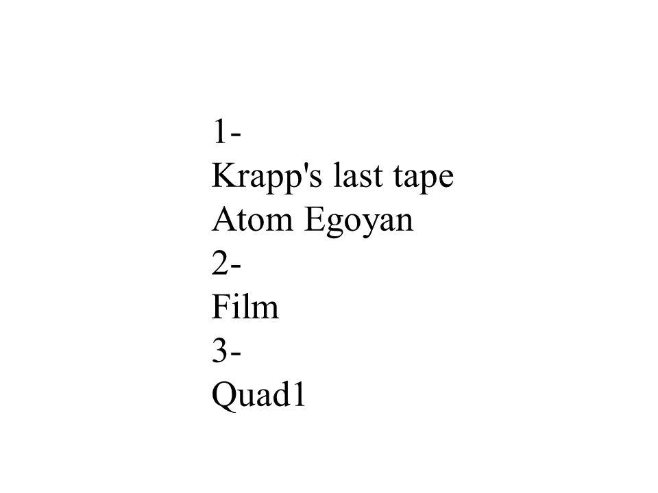 1- Krapp s last tape Atom Egoyan 2- Film 3- Quad1