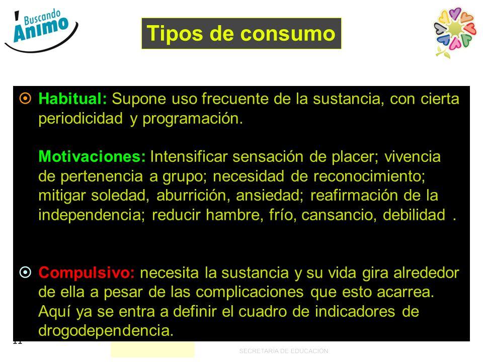 Tipos de consumo Habitual: Supone uso frecuente de la sustancia, con cierta periodicidad y programación.