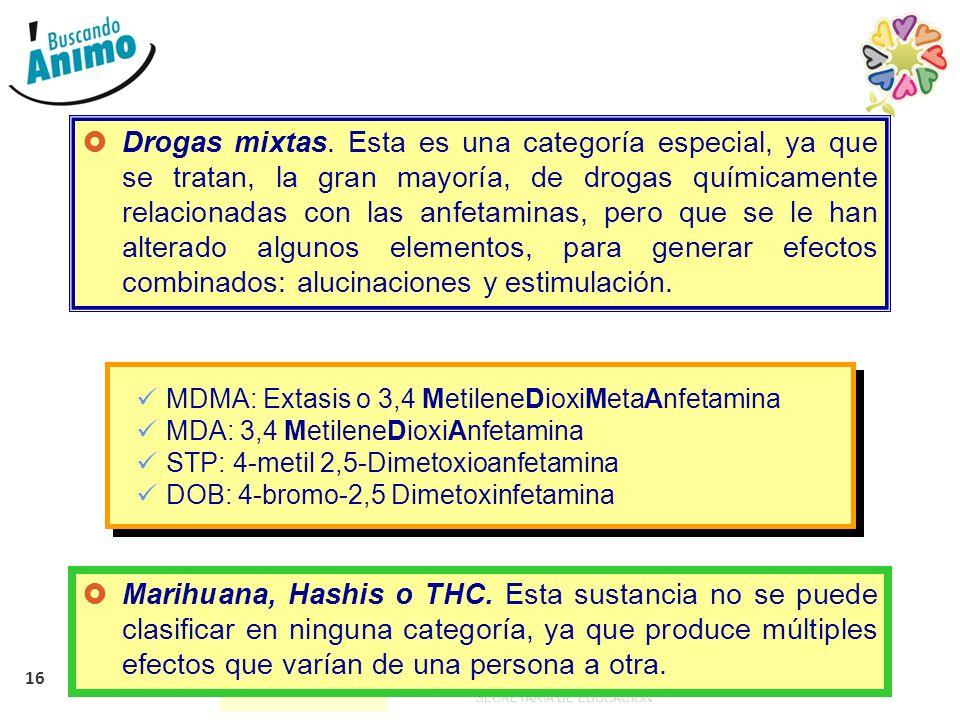 Drogas mixtas. Esta es una categoría especial, ya que se tratan, la gran mayoría, de drogas químicamente relacionadas con las anfetaminas, pero que se le han alterado algunos elementos, para generar efectos combinados: alucinaciones y estimulación.