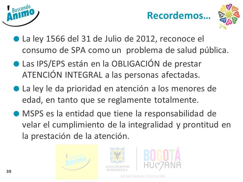 Recordemos… La ley 1566 del 31 de Julio de 2012, reconoce el consumo de SPA como un problema de salud pública.