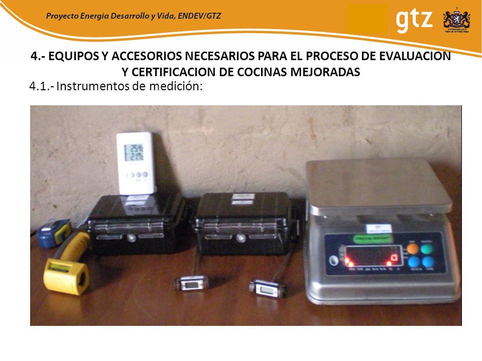 4.- EQUIPOS Y ACCESORIOS NECESARIOS PARA EL PROCESO DE EVALUACION Y CERTIFICACION DE COCINAS MEJORADAS