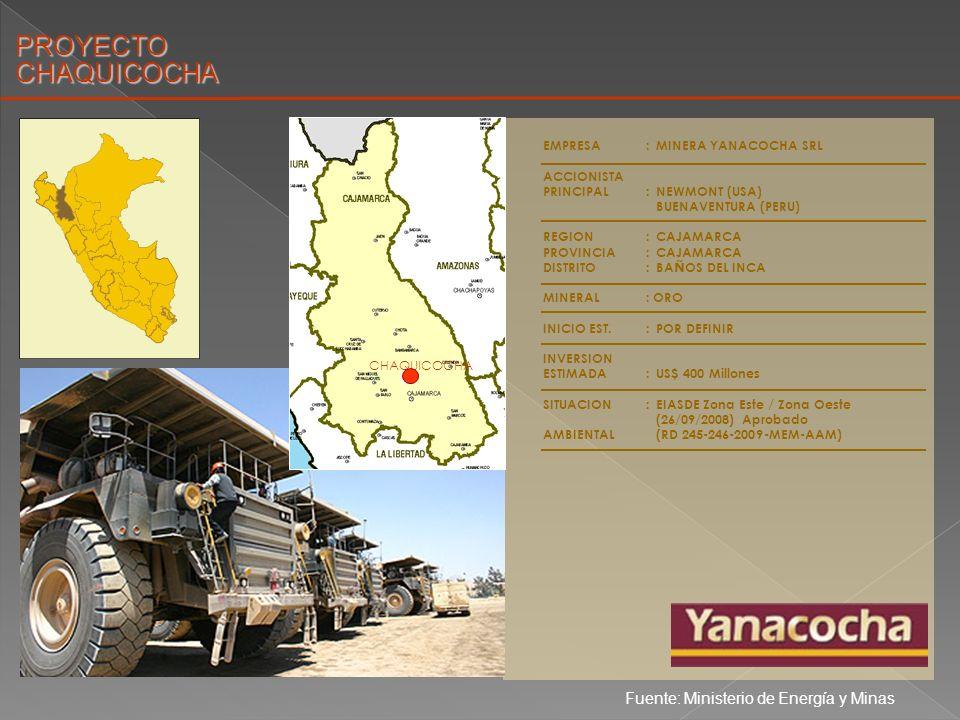 PROYECTO CHAQUICOCHA Fuente: Ministerio de Energía y Minas