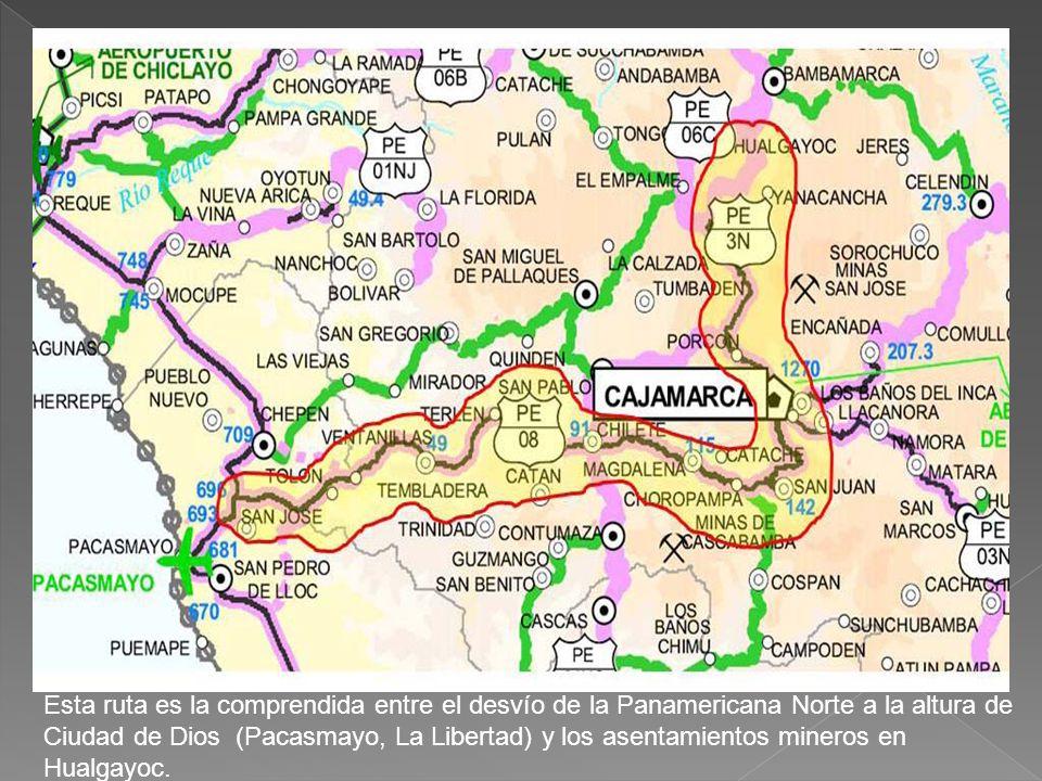 Esta ruta es la comprendida entre el desvío de la Panamericana Norte a la altura de Ciudad de Dios (Pacasmayo, La Libertad) y los asentamientos mineros en Hualgayoc.