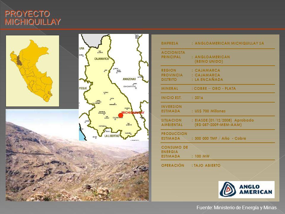 PROYECTO MICHIQUILLAY Fuente: Ministerio de Energía y Minas